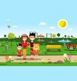 happy family in park spring landscape vector image