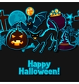 Happy halloween seamless pattern with stickers vector image