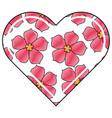 Heart love flower sakura traditional pattern vector image