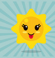 kawaii sun out tongue vector image