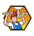 Plumber Worker With Adjustable Wrench vector image