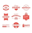 Red Birthday Labels Set vector image