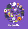 round composition of halloween symbols vector image