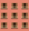 Open Doors With Balcony Vintage Style vector image