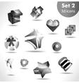 black white icon set vector image