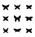 black butterfly icon set vector image vector image