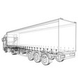 cargo truck trailer wire-frame eps10 format vector image