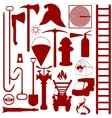 Contours of fire fighting equipment tools and vector image