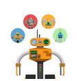orange mechanic robot with indicators and antennae vector image