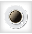 Top view cup of coffee isolated on white vector image