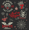 Vintage tattoo graphic elements set vector image