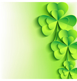 Patricks day background with stylish leaf clover vector image
