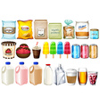 A group of foods and drinks vector image