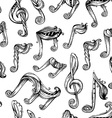 Seamless vintage music pattern vector image