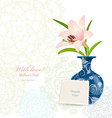 invitation card with lovely flower in vase for vector image vector image
