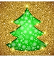 Christmas tree card with glitter vector image