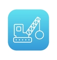 Demolition crane line icon vector image