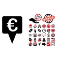 Euro Map Pointer Flat Icon with Bonus vector image