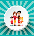 Family on retro background vector image