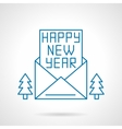 Happy New Year greetings thin line icon vector image