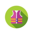 Life jacket flat icon with long shadow vector image