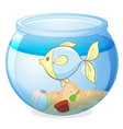 a water bowl and a fish vector image vector image