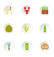 Beer icons set cartoon style vector image