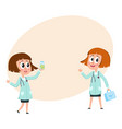 two comic woman doctor characters holding medical vector image