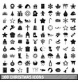 100 christmas icons set simple style vector image