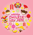 Chinese New Year Text with Icons vector image