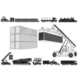 Set of Loading Trucks and other Transport Icons vector image