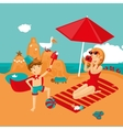 Mother and son on a beach Family vacation vector image
