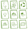 A set of green notebooks vector image