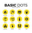 beach flat icons set vector image