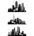 Black and white panorama cities art vector image