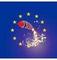 Brexit rocket UK and Euro union flags raining vector image