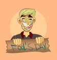 Cartoon boy fool s day vector image