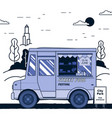 concept of street food festival purple food truck vector image
