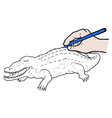 crocodile draw vector image
