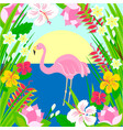 flamingo in the sun sea and tropical flowers vector image