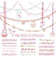 Love heart doodle brushesValentinewedding vector image