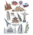 Travel and vacation stickers set vector image