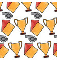 whistle trophy and cards soccer sport pattern vector image