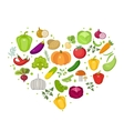 Vegetables icon set in heart shape Flat style vector image