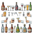 set of alcoholic symbols different drinking vector image