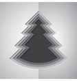Grey paper cutout christmas tree vector image