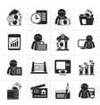 Silhouette Bank and Finance Icons vector image vector image