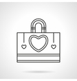 Shopping bag with heart flat line icon vector image