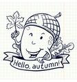 acorn doodle character vector image