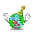 clown world globe character cartoon vector image